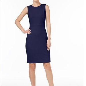 Calvin Klein Scuba Crepe Sheath Dress In Indigo